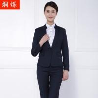 湘潭藏青条纹西装职业套装批发